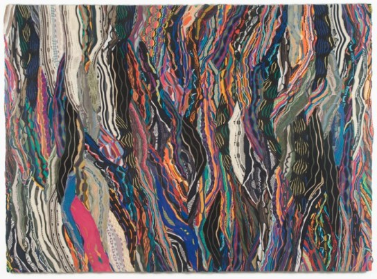 Jayson Musson How Do You Get From Here to the Rest of the World?, 2012 Mercerized cotton stretched over cotton 70 x 96 inches