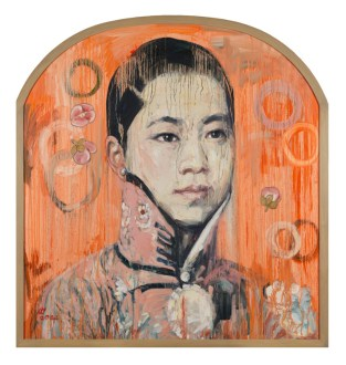 Hung Liu, Visage II, 2004 Oil on canvas; 51 1/2 x 48 inches PAFA, Art by Women Collection, Gift of Linda Lee Alter