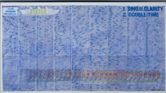 Blue Monday (Reversal,) 2010. George Widener, American b. 1962. Ballpoint and fiber-tipped pen inks over graphite on pieced papers, 44 x 80 inches (111.8 x 203.2 cm). Signed and dated lower right: GEORGE WIDENER 2010. Philadelphia Museum of Art, The Jill and Sheldon Bonovitz Collection. Photography by Will Brown