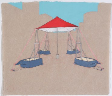 "Rollerboard Shelter graphite, gouache, on hand-made paper 10x12"", 2012"