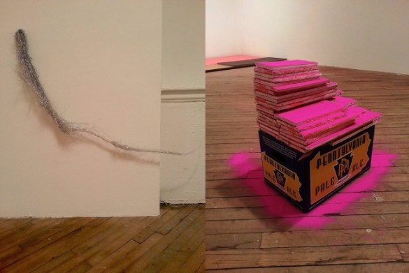Untitled, 2013 fan and tinsel Untitled, 2013 found box, gypsum board, joint compound, latex paint, and dustBoth from Linda Yun's recent Vox Populi exhibition I'll Follow You...