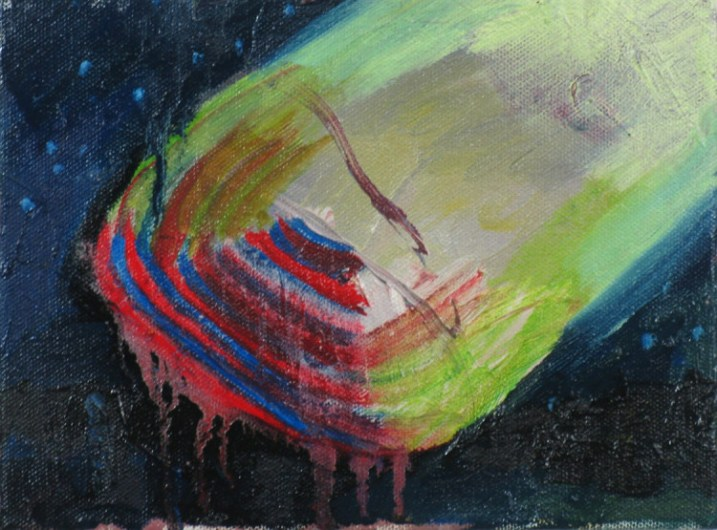 "Linnea Paskow, ""Faith"" 6 x 8 inches, oil on canvas (spaceship like form at night -reds and greens) Image courtesy of the artist"