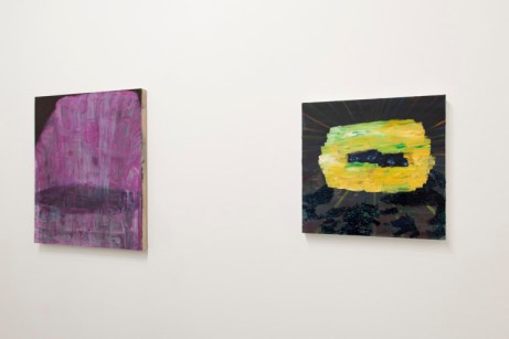 "Left: Clare Grill, ""The Wiser"", 2011, oil on linen, 24"" x 28"" Right: Sarah Gamble, Untitled, 2013, Mixed Media, 20"" x 20"" Photograph by Jamie Alvarez, Image courtesy of Grizzly Grizzly"