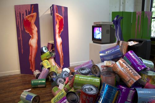 "Sugar Void 80"" x 20"" x 60"" mixed media: wood, paint, screenprint on paper, acrylic paint pour 2013"