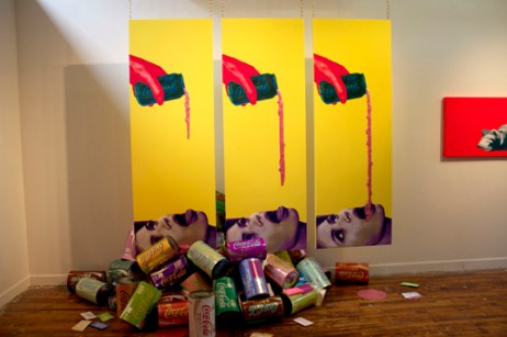 "Tasty triptych, each 80"" x 32"" x 1"" mixed media: screenprint on paper, paint, wood, acrylic paint pour, brass chain 2012"