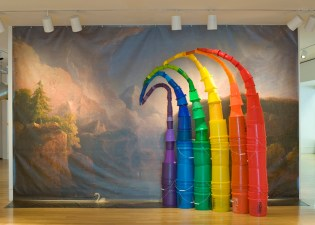Plastic Rainbow, Incorporating Thomas Doughty, Morning among the Hills, 2013,  Plastic buckets, recycling buckets, various plastic containers, paint, enlarged vinyl printed reproduction of Thomas Doughty, Morning Among the Hills 1929-30 Artist: Sarah Peoples Photo by Max Grudzinski