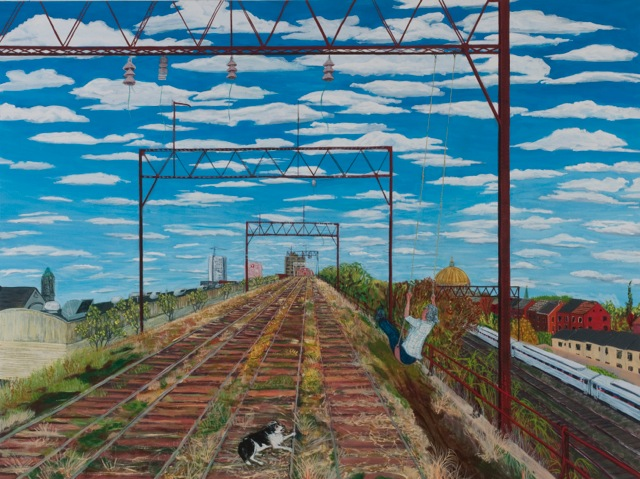 Viaduct, West Poplar, 2013 egg tempera on wood 36 x 48 inches Courtesy of the Artist