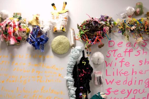 detail, wall #2, sculpture by Cindy Gosselin, Kelly Brown, and Deb Clark; text by Kurt Webber.