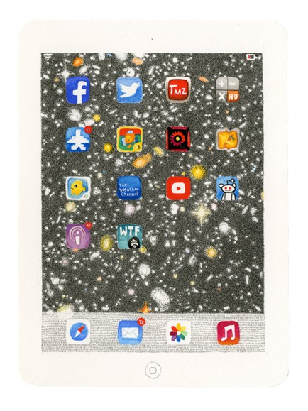 Mia Rosenthal iPad, 2014 9 ½ x 7 Ink, gouache and graphite on paper