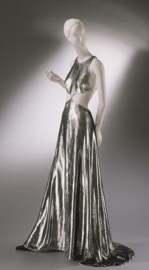 "Woman's ""Mercury"" Evening Dress,designed by Geoffrey Beene, American, Fall/Winter 1994-95, Lamé velvet of metallic pile and acrylic twill ground, Center Front Length: 60 inches (152.4 cm), Gift of Geoffrey Beene, 1997"