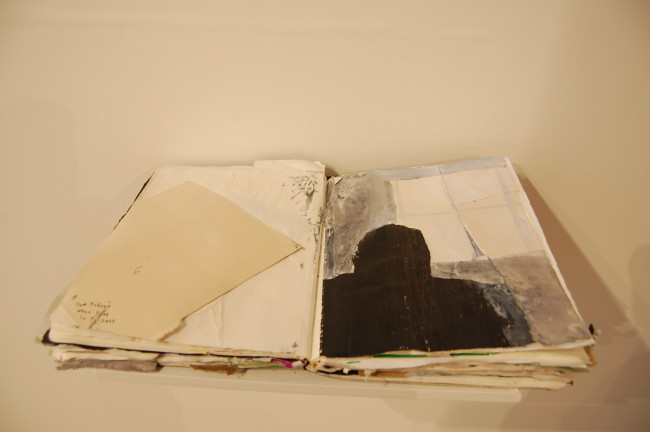 Bettina Nelson, Black Book found papers, acrylic, gouache