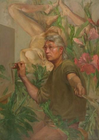 Ben Kamihira, Fantasy II, 1976-85, oil on canvas, 50 x 36 in., Pennsylvania Academy of the Fine Arts.