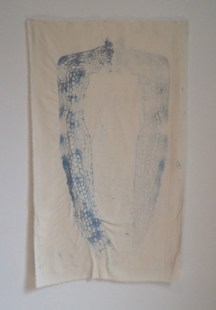 "C. Pazia Mannella, Trace, 2014. Watercolor and hand embroidery on raw silk, 40""x24"". $1500."