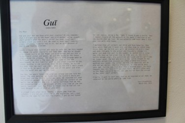 Gui, 2013 Framed letter from Grandfather Mou Zhu