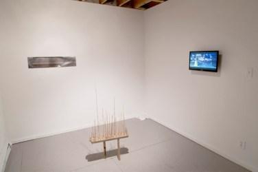 Installation view of To Labor With Love, featuring works by Anna Neighbor, Thomas Pontone, Matt Geil, and Joe Bochynski. Image courtesy of Elisa Gabor.