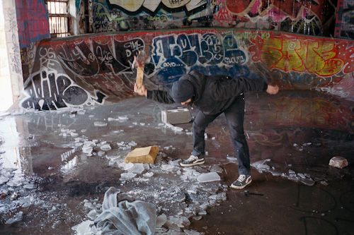 "Phil Jackson, Josh breaking ice, Newark NJ, 2014. 12x18"" chromogenic color print."