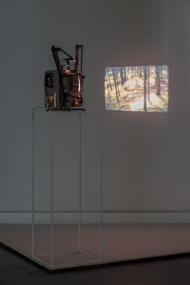 Installation view, Exploded View, 16mm film loop and installation with sound, 2014. Courtesy of Locks Gallery