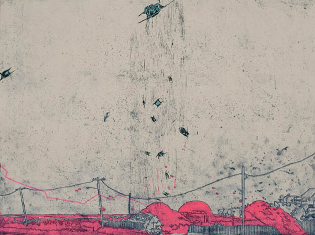 The Sinking of Matunuck (3 of 3), 2012, intaglio, screen print, 18 x 24 inches, edition of 4
