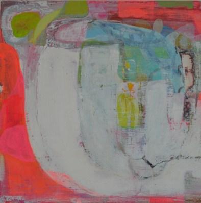 """Bonnie LevinthalIceland - Cuba IV,12"""" x 12"""", mixed media on wood, 2014"""