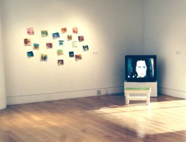 Ashley Wick, Love Stains, installation view, oil on canvas, 19 small pieces of canvas, approx 5 x 6 inch each, arranged on wall