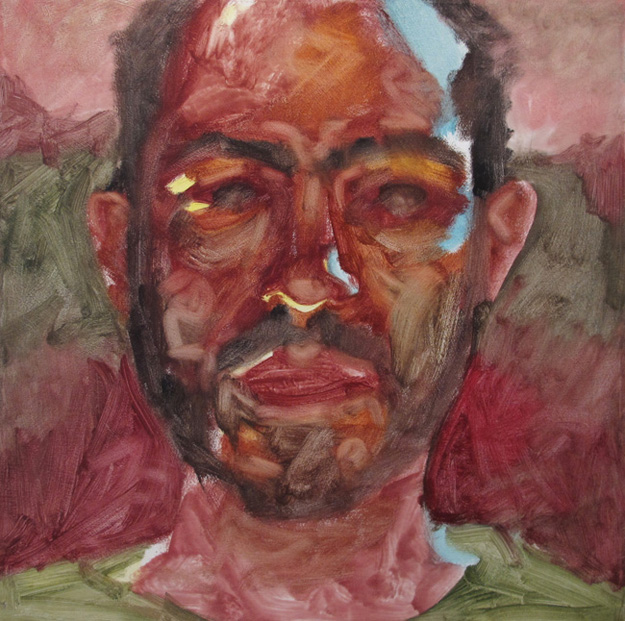 Yoni Hamburger, Self in Red , oil on canvas, 19 x 19 inches