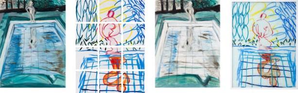 In the Garden II, #1, , 1980 Oil on canvas, Enamel over silkscreen grid on baked enamel steel plates, Pastel on paper, Enamel on glass
