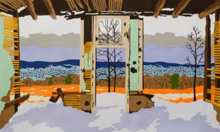 "Sanatorium, Joseph Opshinsky, cut paper collage, 18"" x 34"""