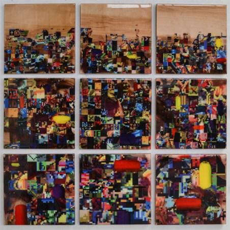"""309, EJ Herczyk, oil, acrylic, resin, uv ink, maple plywood, 47"""" x 47"""""""