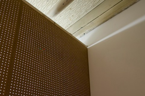 The Search (Pegboard and panel wall with LED lights), 10'h x 10'w, wooden studs, pegboard, composite paneling, pine, LED lights, 2014