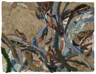A Shifting Slant of Light, 2013, mixed media and fabric on panel, 18 1/2 x 24 1/2 inches