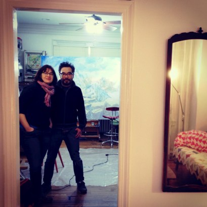 Anne Canfield and Hiro Sakaguchi in Hiro's studio. Photograph by Zoë Cohen