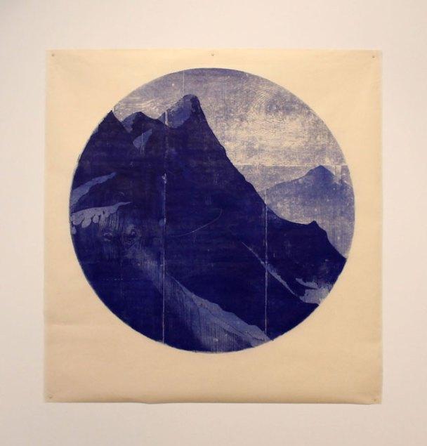 Tondo (dirt) - woodblock print on Kitakata, 34 inch diameter circle, 2015
