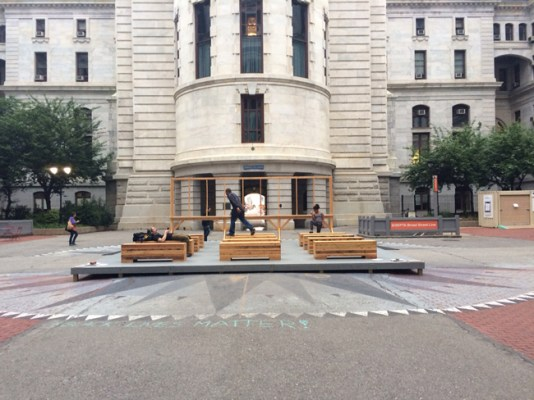 Prototype Monument for Center Square, at City Hall, 2015.