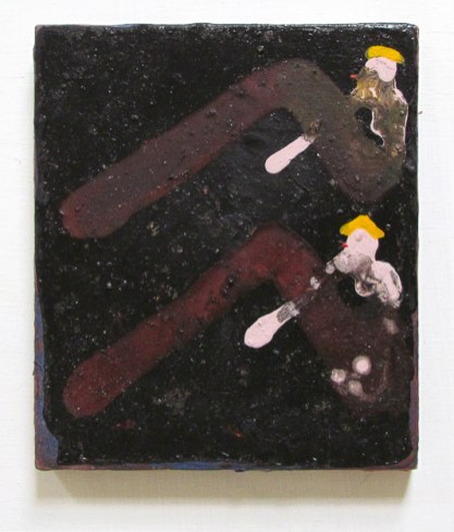 """Sisters Sunning and Smoking on Coal Field,"" Adam Lovitz, Acrylic paint and minerals on panel, 9""x8"""