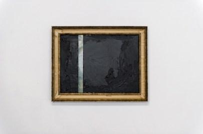 "Christopher Capriotti, ""Weak & Water"", 2015. Plasti Dip on found oil painting, 23""x29"""