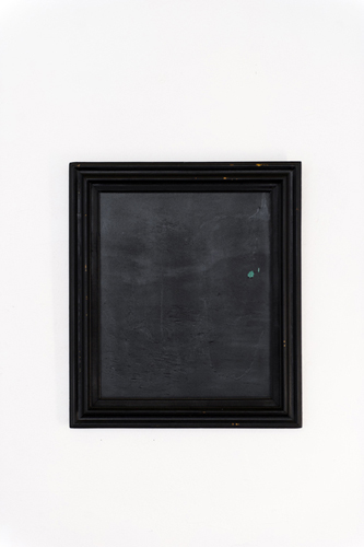 """Christopher Capriotti, """"Quiet"""", 2015. Sprayable Rubber Sealant on found oil painting, 31""""x27"""""""