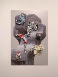 Bastien Aubry are Dimitri Broquard, Modern Contradiction (Superficial Painting), printed chipboard, painted and glazed porcelain, screws, 39 19/50 × 26 22/25 × 6 in.