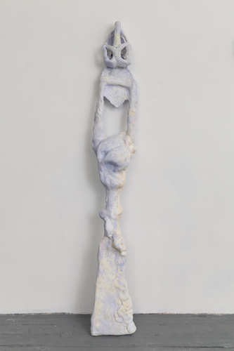 Rachel Klinghoffer, Here beside the rising tide, 69 x 10 x 6 inches, Used sandals, crochet lace by husband's great grandmother, used paint brushes, used bra, found wood from Long Beach Island NJ, diamonds, aquamarine, sapphires, white topaz, jade, hydrocal, mixol & acrylic, 2015