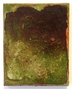 Adam Lovitz, wet grass, 10 x 8 inches, acrylic paint and mineral(schist) on panel, 2016