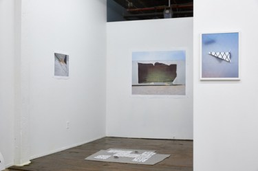 "Silos, Windmills, Graveyards, installation view (from left to right) Izaak Schlossman""Secured Staircase, Los Angeles, CA"", Izaak Schlossman ""Overturned Truck Trailer, I-8 Near Yuma, AZ"", Clark Mizono ""Untitled"", Floor Installation by Matt Kayhoe Brett"