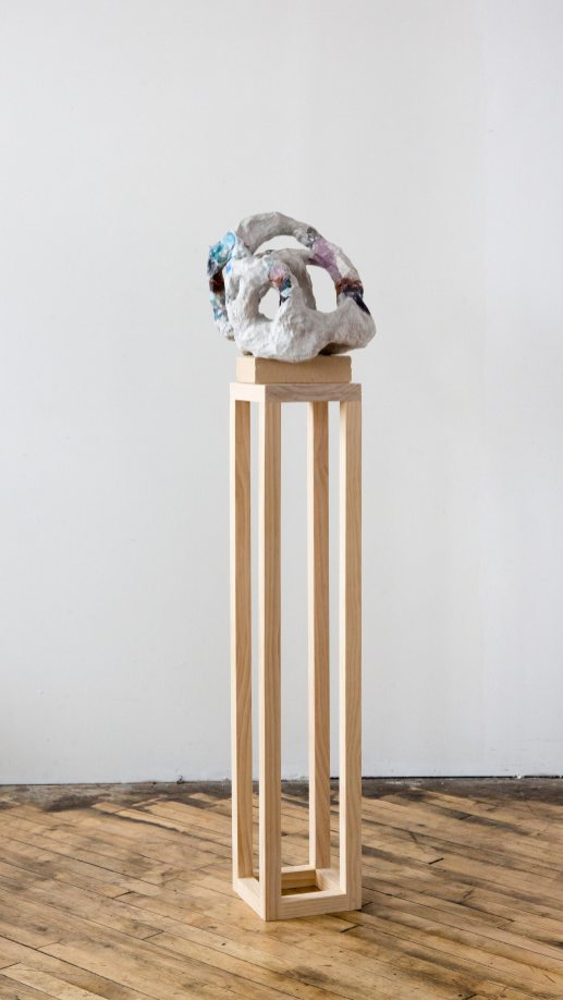 Alexis Granwell Mending Hole, 2017 Handmade linen on cotton paper over paper mache, brick, wood 64 x 14 x 13 inches Credit: Courtesy the artist and Fleisher/Ollman; photo: Jessica Kourkounis