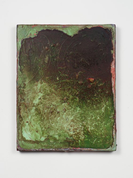 Adam Lovitz Wet Grass, 2016 Acrylic paint and found mineral (schist) on panel 11 x 8 3/4 inches Credit: Courtesy the artist and Fleisher/Ollman; Photo: Claire Iltis