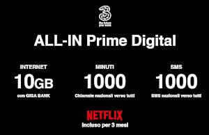 Offerta ALL-IN Prime digital di 3