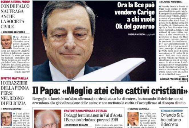 Rassegna stampa 3 gennaio: i titoli dei giornali di oggi