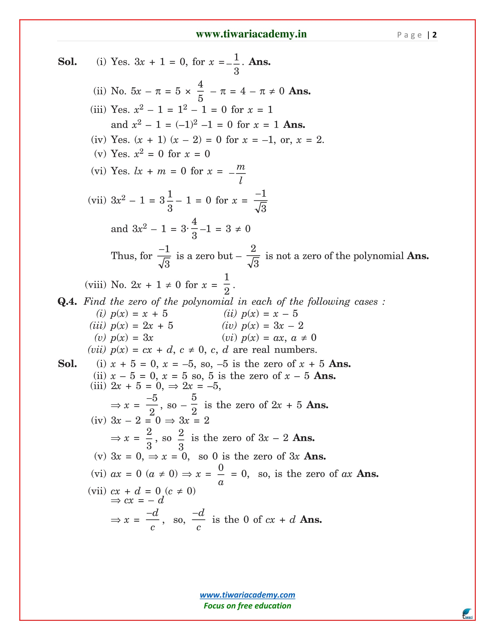 Ncert Solutions For Class 9 Maths Chapter 2 Polynomials In