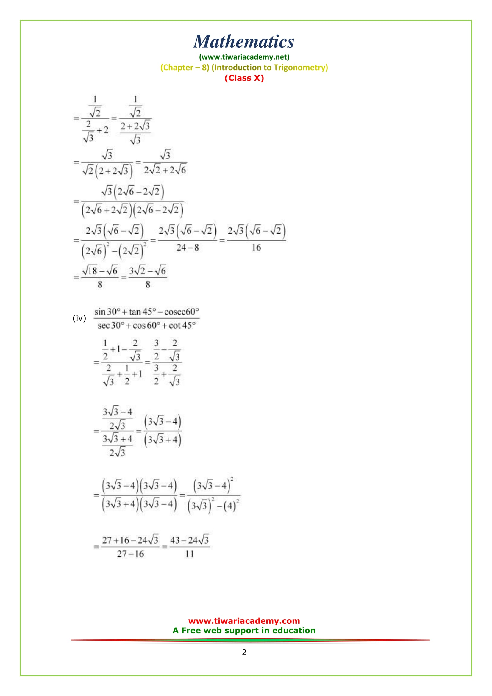 Free Ncert Solutions For Class 10 Maths Chapter 8 Exercise 8 2 In