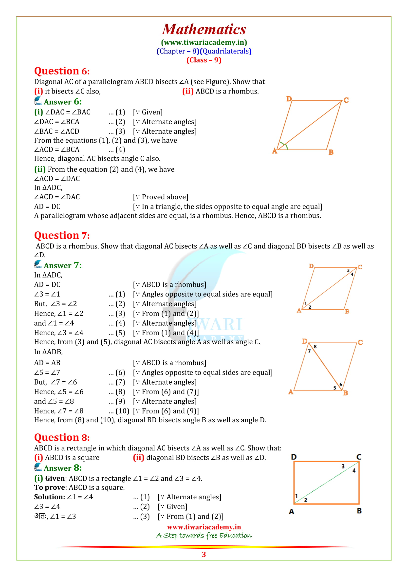 Ncert Solutions For Class 9 Maths Chapter 8 Quadrilaterals Ex 8 1 Amp 8 2