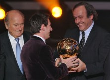 Sepp Blatter - Lionel Messi - Michel Platini