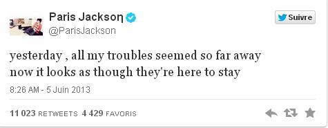 Message Tweet de Paris Jackson