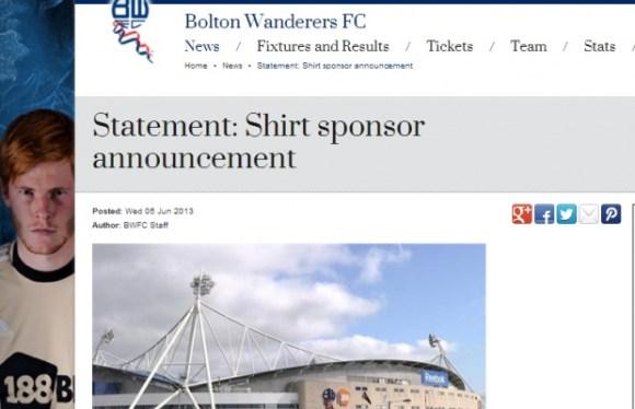 Bolton : Sponsor dégagé après une pétition